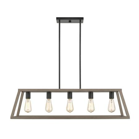 Agnes II Wood Painted and Matte Black Multi-light Transitional Linear LED Pendant Light