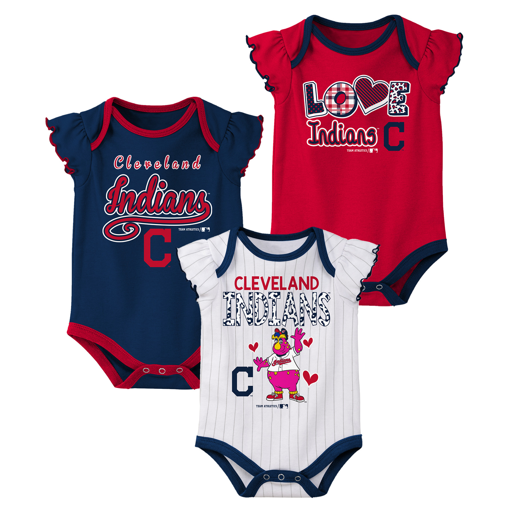 MLB Cleveland Indians Onesie Creeper GIRL 3PK 100% Cotton ASSORTED Colors 0M-18M