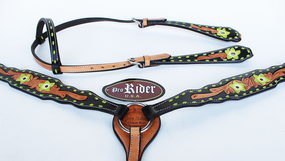 Horse Tack Bridle Western Leather Headstall Breast Collar Lime Green Rodeo 8278a Walmart Com Walmart Com