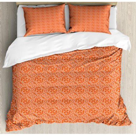 Ethnic King Size Duvet Cover Set, Creative Floating Perpetual Chrysanthemum Maximum Flowers Inspired Design, Decorative 3 Piece Bedding Set with 2 Pillow Shams, Vermilion and Coral, by Ambesonne