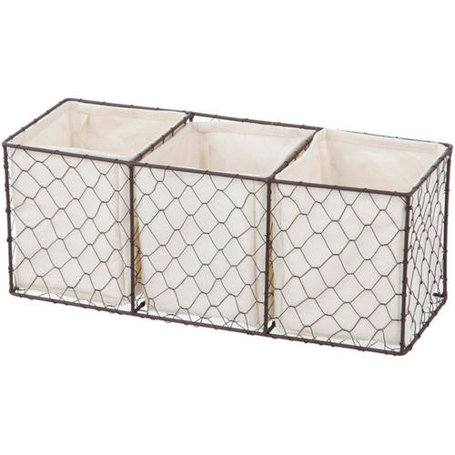 Chapter Lined Chicken Wire Storage Basket with Dividers, Bronze Finish