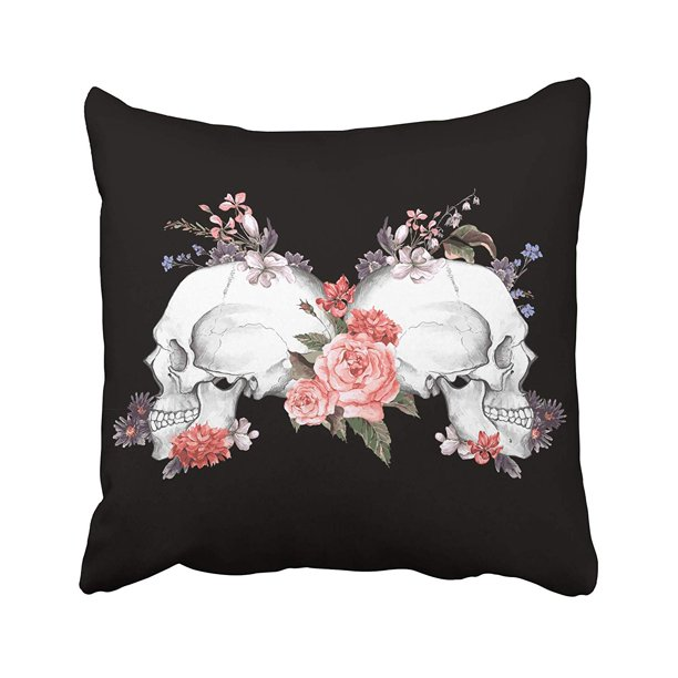 Arhome Colorful Tattoo Roses And Skull Vintage Watercolor Gothic Abstract Black Bone Day Pillow Case Pillow Cover 18x18 Inch Throw Pillow Covers Walmart Com Walmart Com