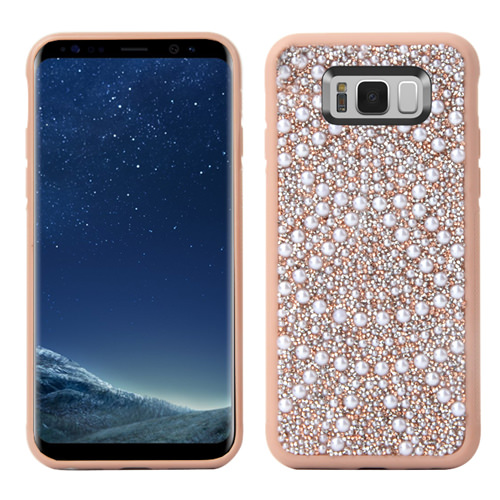 MUNDAZE Rose Gold Luxury Pearls Diamond Case For Samsung Galaxy S8 Phone