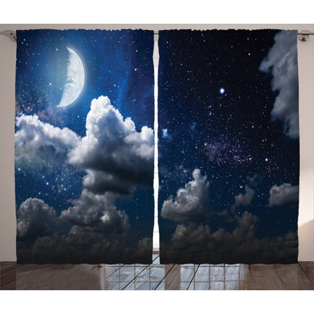Space Curtains 2 Panels Set, Celestial Solar Night Scene Stars Moon and Clouds Heaven Place in Cosmos Theme, Living Room Bedroom Decor, Dark Blue White, by