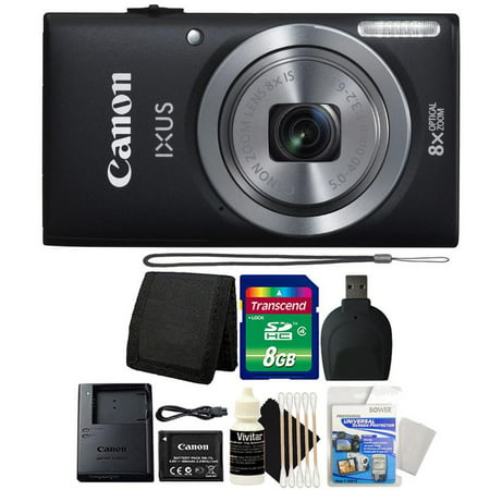 Canon Powershot Ixus 185 / ELPH 180 20MP Compact Digital Camera Black with 8GB Accessory Bundle
