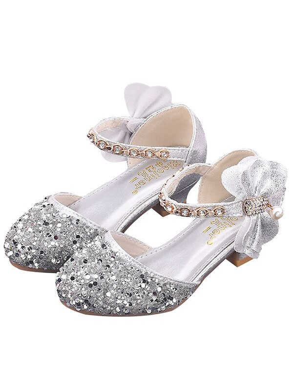 Kids Girls Sequins Mid Heels Princess Bling Dress Shoes Bowk Party Shiny Sandals