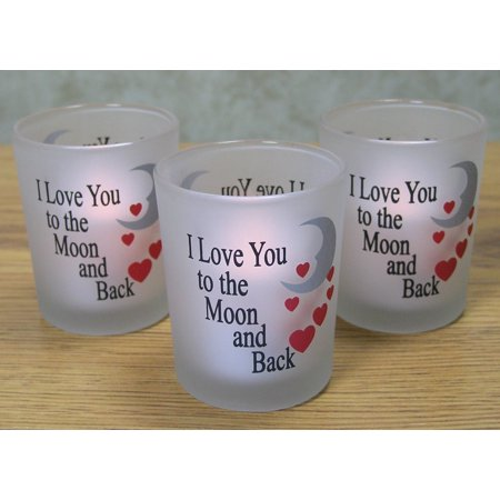 I Love You to the Moon & Back Frosted Glass Votive Candle Holders