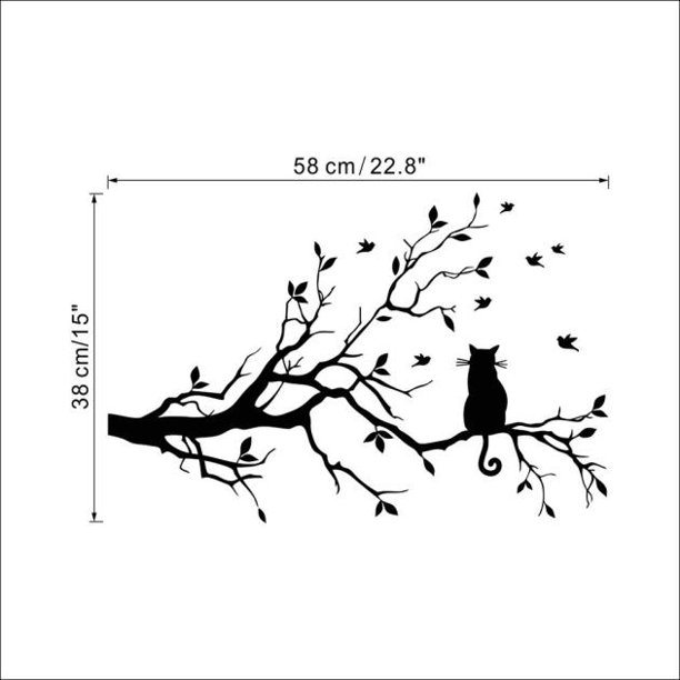 Cat On Long Tree Branch Wall Sticker Animals Cats Art Decal Kids Room Decor Walmart Com Walmart Com
