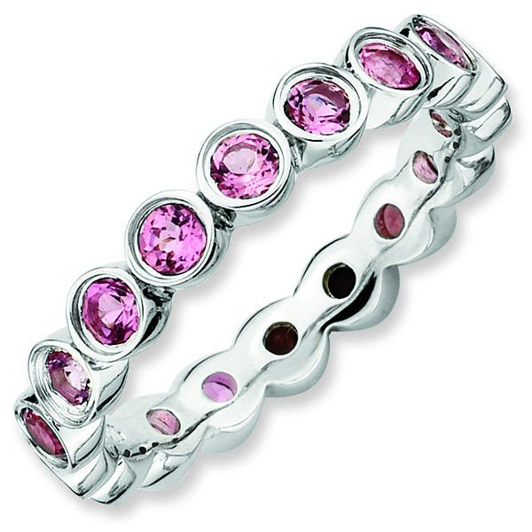 Pink Tourmaline 3.5mm Bezel-Set Band Sterling Silver Stackable Ring by