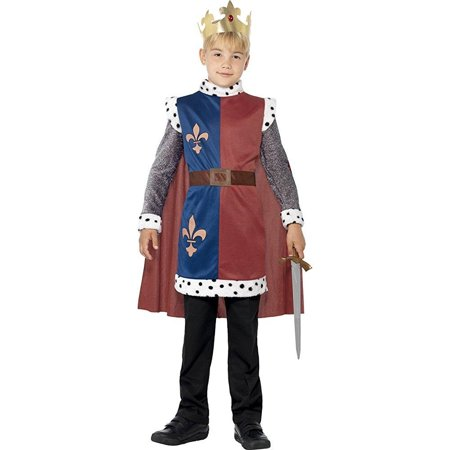 Smiffys Children's King Arthur Medieval Costume, Tunic, Cape and Crown, Ages 4-6, Size: Small, Color: Multi, 44079
