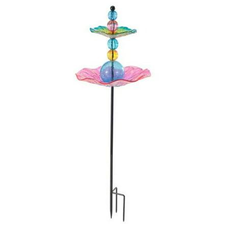 Sunjoy 110309035 Glass Bird Feeder Garden Stake, 3200750