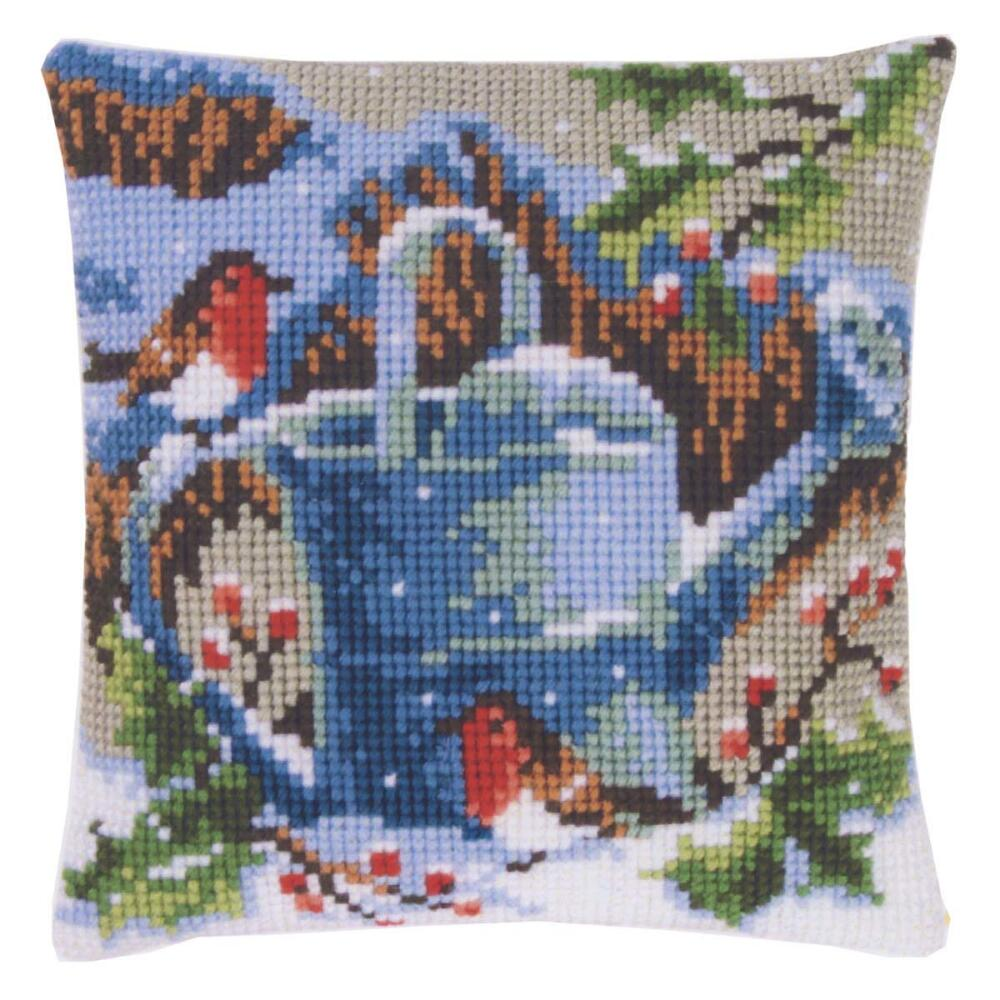 Vervaco Winter Garden Watering Can Pillow Cover Needlepoint Kit