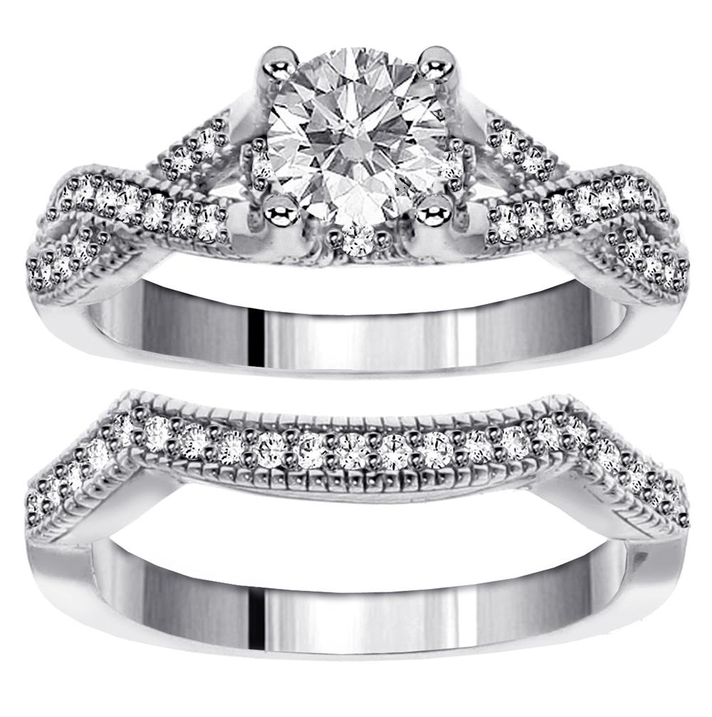 0.95 CT Brilliant Cut Diamond Encrusted Braided Engagement Bridal Set in White Gold by VIP Jewelry Art