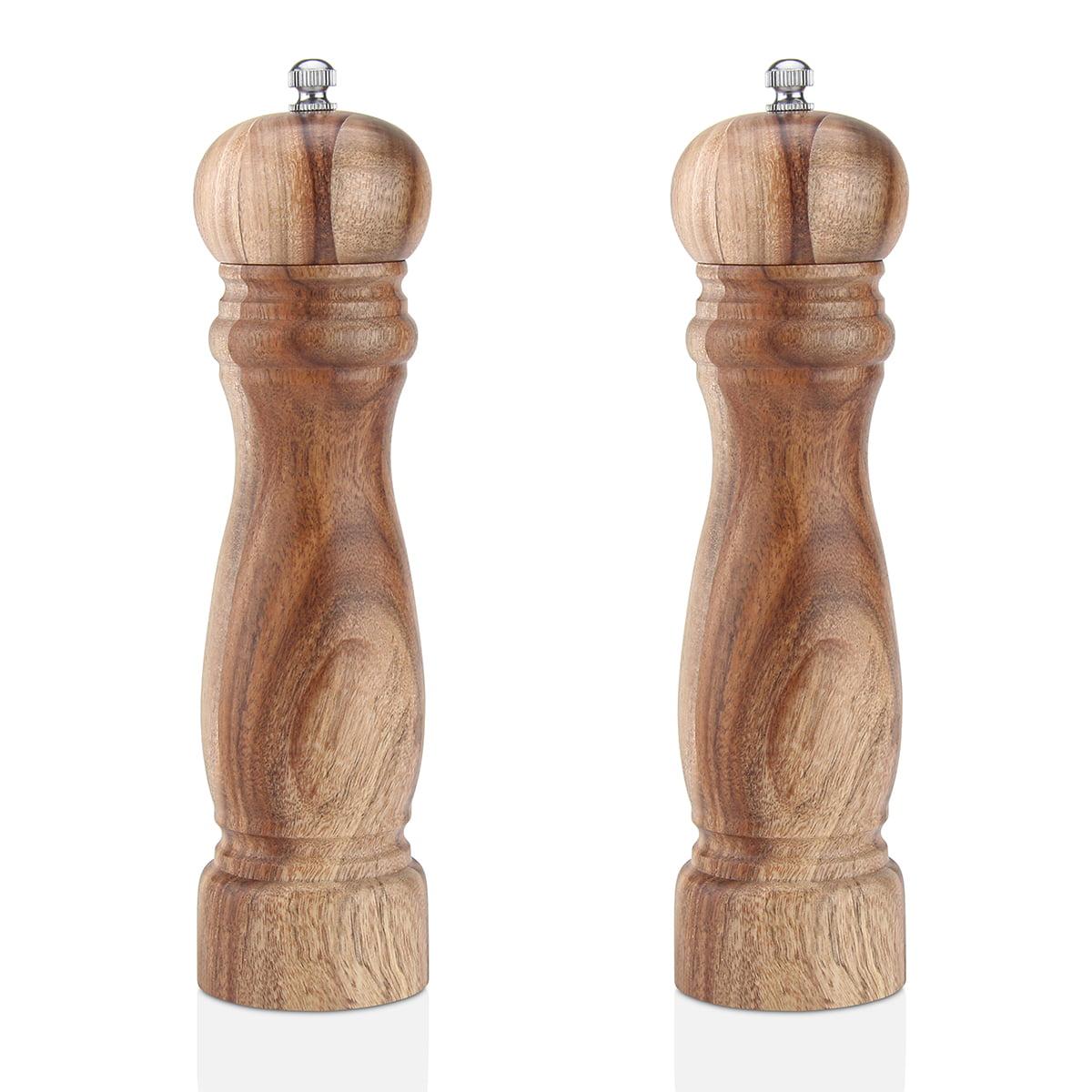 8 inch Wooden Pepper Mill Manual Ceramic Core Salt Pepper Spice Grinders Hand Shaker Cruet (2 Pack) by