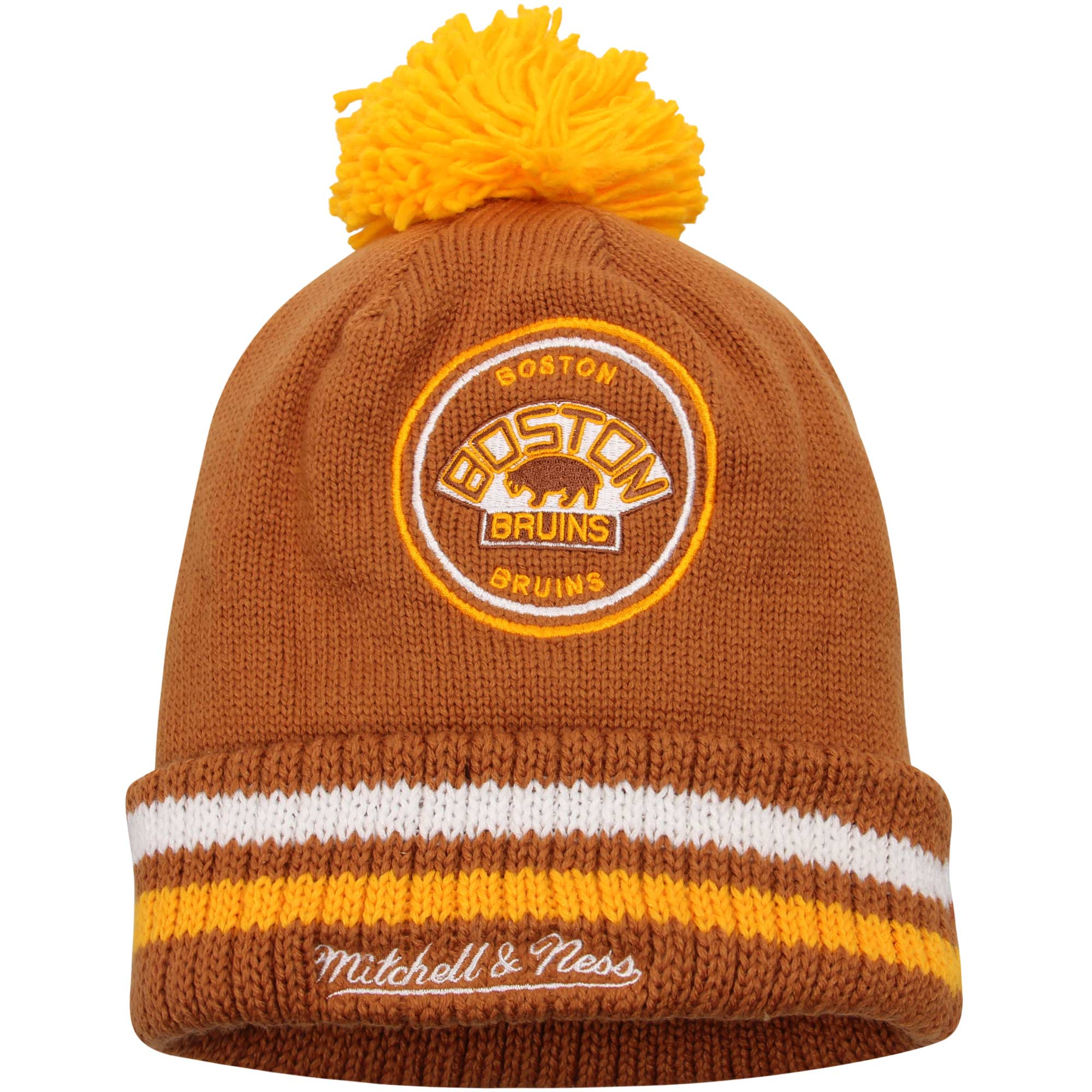 Boston Bruins Mitchell & Ness Vintage Big Man Hi-Five Cuffed Knit Hat Brown OSFA by MITCHELL NESS CO.