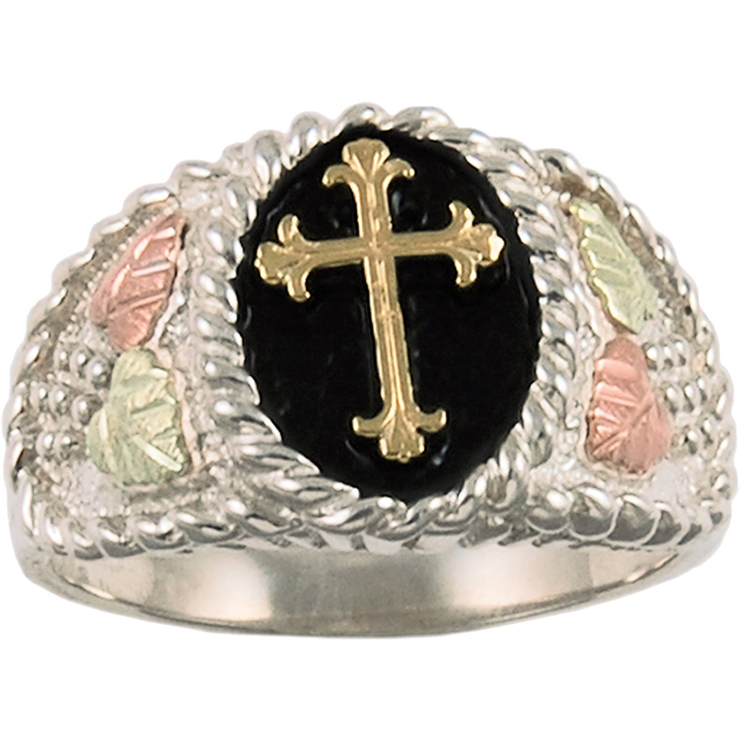 Black Hills Gold Men's Sterling Silver 10kt and 12kt Gold Accented Antiqued Cross Ring