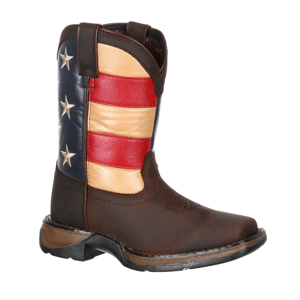 Durango Kid's Flag Western Boots Brown Leather 10.5 Little Kid M by Durango