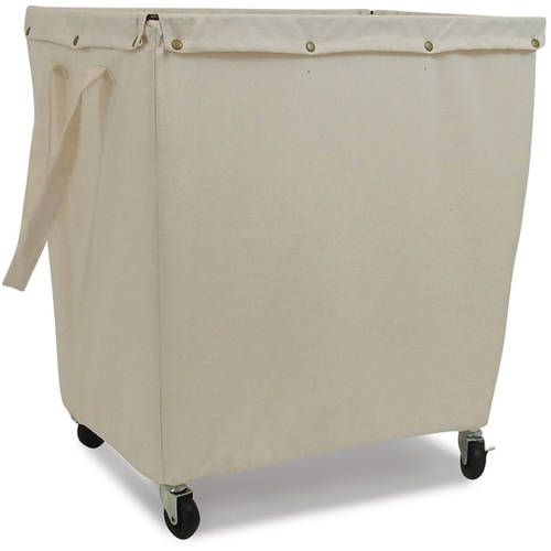 Homz Commercial Canvas Hamper with Casters, Khaki