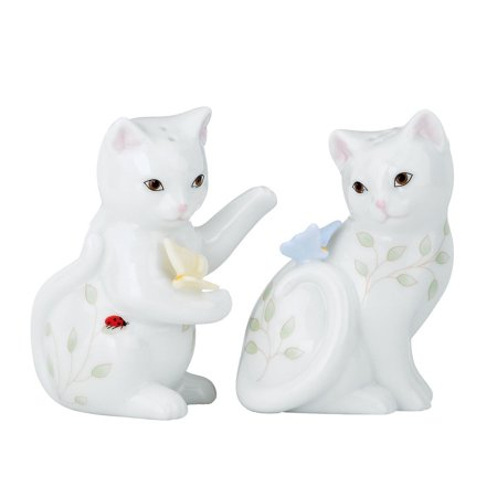 Hand Painted Porcelain Salt (Butterfly Meadow Figural Kitten Salt and Pepper Set, Made of chip-resistant Lenox white porcelain By Lenox)