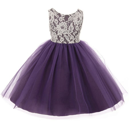 Little Girl Sleeveless Lace Bodice Illusion Tulle Easter Flower Girl Dress USA Purple 2 KD 414 BNY Corner](Formal Dress For Girls 7-16)