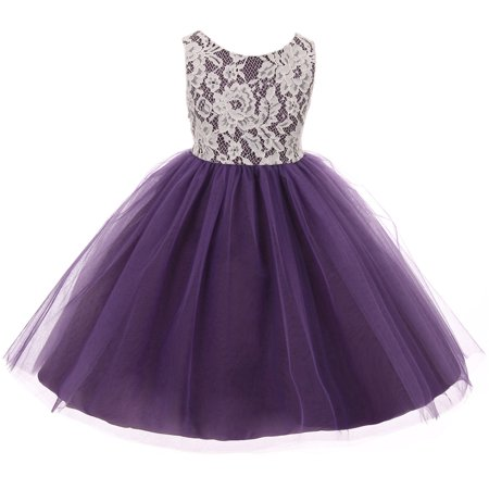 Little Girl Sleeveless Lace Bodice Illusion Tulle Easter Flower Girl Dress USA Purple 2 KD 414 BNY Corner