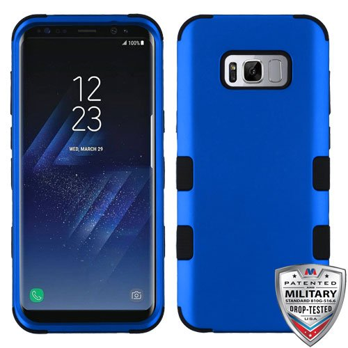 Samsung Galaxy S8+, S8 Plus Case - Wydan Tuff Hybrid Hard Shockproof Case Protective Cover Blue on Black