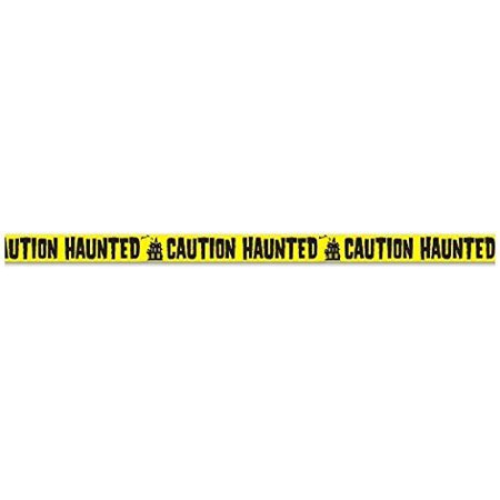 Caution Haunted Party Tape 3 In. X 20 Ft. Halloween Party Accessory (1 Count) (1/pkg) Pkg/3 (20 Off Halloween City)
