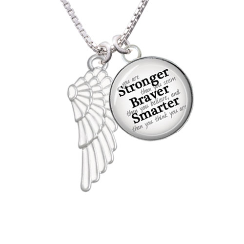 "Large White Enamel Angel Wing Stronger Braver Smarter Glass Dome Necklace, 18""+2"""