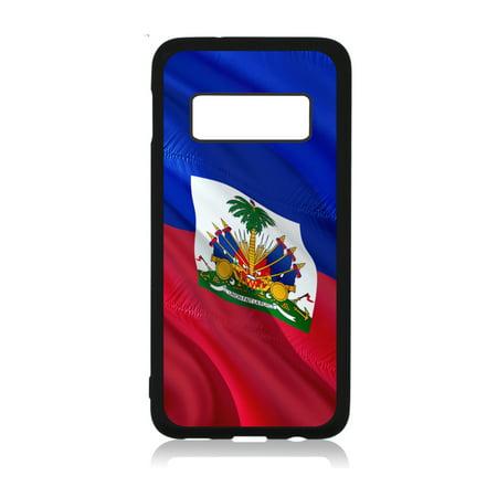 Flag Haiti  - Waving Haitian Flag Print Design Black Rubber Case Cover for The Samsung Galaxy s10 Plus / s10+ / s10P - Samsung Galaxy s10 Plus Accessories - Samsung Galaxy s10 Plus Case ()