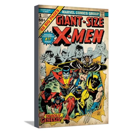 Marvel Comics Retro: The X-Men Comic Book Cover No.1 (aged) Stretched Canvas Print Wall Art