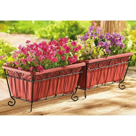 Terra Cotta Garden Planters & Iron Stand - Set Of 2, Orange