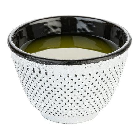 Tetsubin 4 oz White Cast Iron Tea Cup - Hobnail - 3