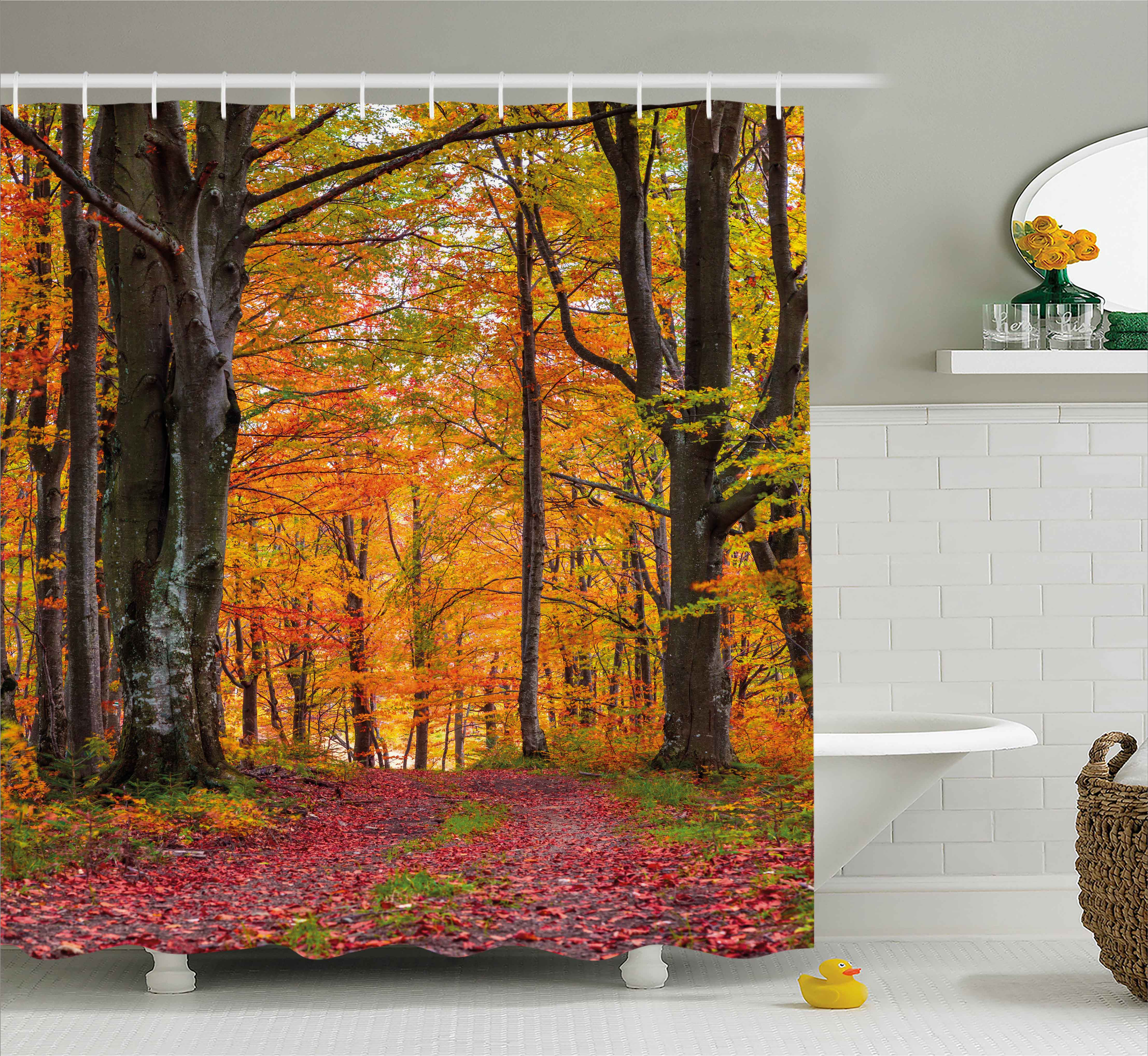 Genial Autumn Shower Curtain, Fall Forest With Shady Deciduous Trees And Faded  Leaf Magic Woodland Picture