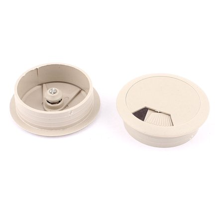 gray round plastic computer desk grommet wire cable hole cover 50mm dia 2pcs. Black Bedroom Furniture Sets. Home Design Ideas