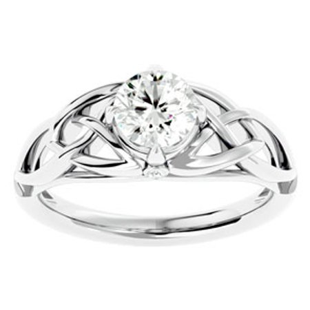 1 Carat Celtic Love Knot Diamond Engagement Ring In 14 Karat White Gold (I-J I1-I2 Clarity Enhanced) White Gold Celtic Love Knots