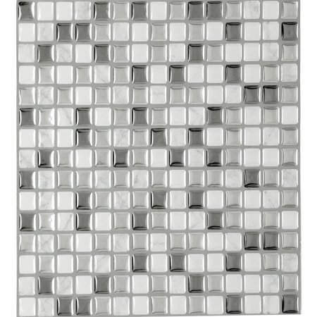 Accent Glass Wall Tile - Achim Magic Gel Silver Glass Self Adhesive Vinyl Backsplash Wall Tile 9.125x9.125 - 3 Tiles/2.25 sq Ft.