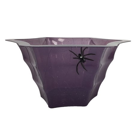 Purple Spiderweb Punch Bowl Halloween Candy Jumbo Size, Big Black Spider and Web Pattern - Halloween Punch Alcohol