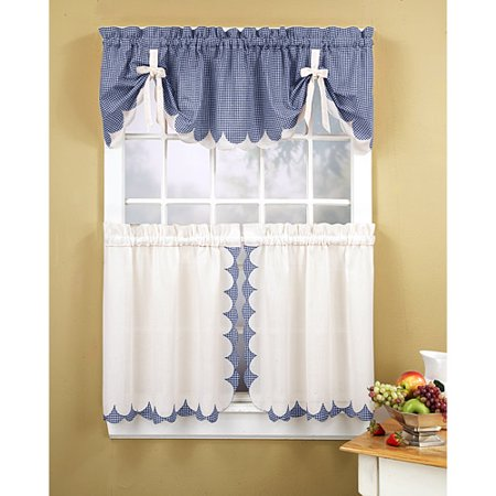 Tabitha Kitchen Tier Or Valance Blue