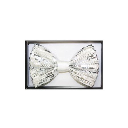 Mozlly Mozlly Glamorous White Sequin Bow Ties Adjustable Length Classic Tuxedo Crystal Glitter Sparkly Pre-tied Luxurious Bowtie Party Banquet Wedding Novelty Neckwear Clothing Accessories 3 Inch Fash - Sequin Tux