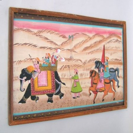 India Overseas Trading CN315 - Silk Painting, Framed, ALL PAINTINGS ARE DIFFERENT, Hand