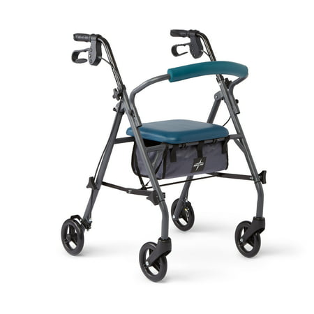 Medline Steel Foldable Rollator Walker with 6