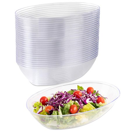 Impressive Creations Plastic Salad Bowl  80 Oz. (Pack of 25) – Heavyweight Disposable Clear Salad Bowl – Durable and Reusable Party Supply Bowl – Perfect Dinnerware