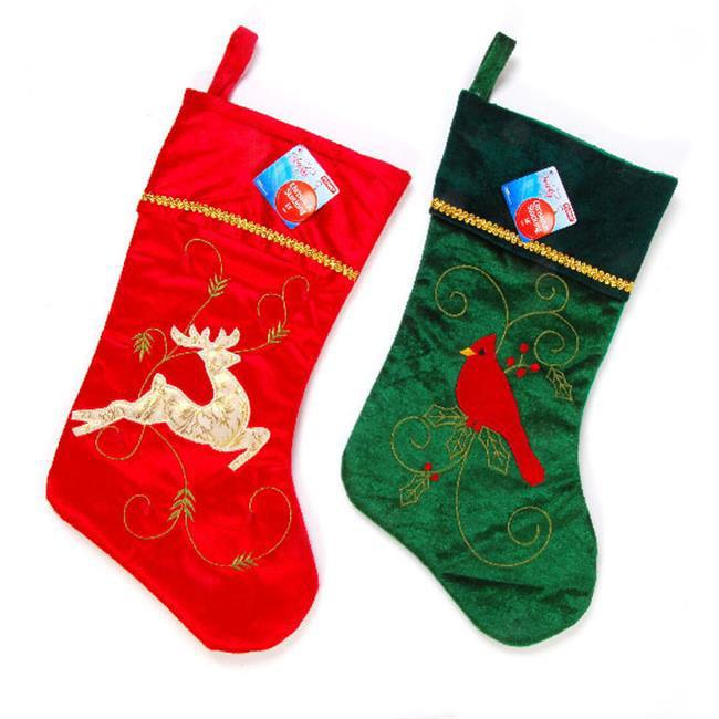 DDI 2127646 Velvet Joyful Stocking with Embroidered Icons...