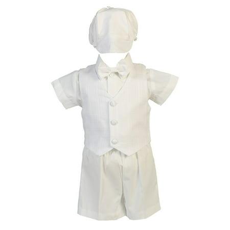 Baby Boys White Cotton Plaid Vest Hat Shorts Christening Outfit Set 12-18M