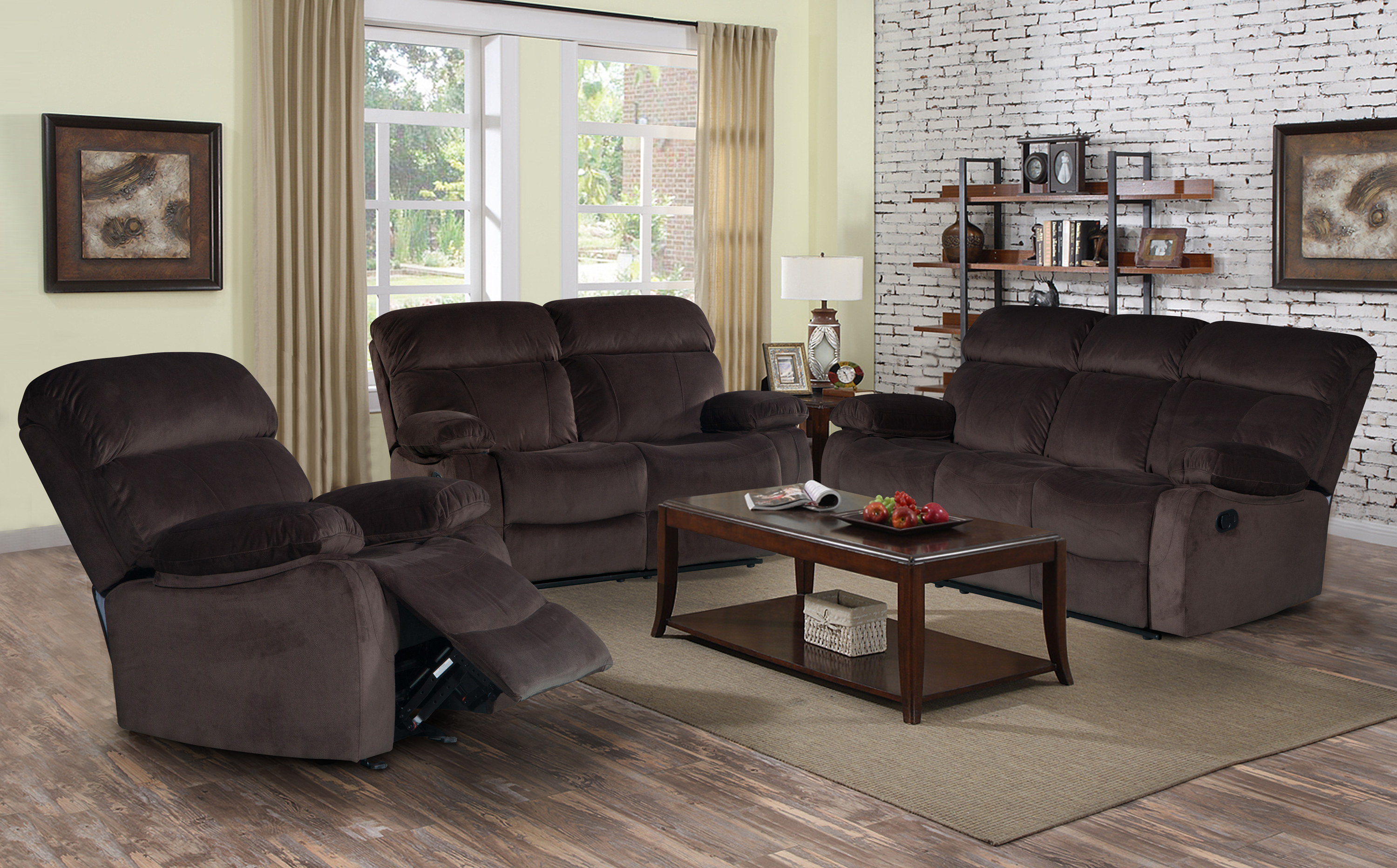 Awesome Izabella Dark Chocolate Corduroy 3 Pc Reclining Sofa Set With Rocking  Recliner Chair