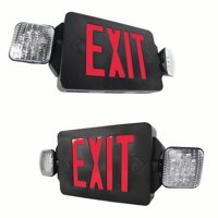eTopLighting [2 Pack] LED Exit Sign Emergency Light, Rotating Side Lamp, Black Body & Red Letter, Extra Face Plate / Double Face, WMLS4353