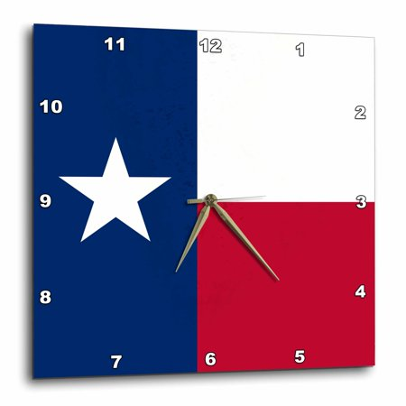 3dRose Flag of Texas TX - US American United State of America USA - blue red white - The Lone Star Flag, Wall Clock, 13 by 13-inch Flag Wall Clock