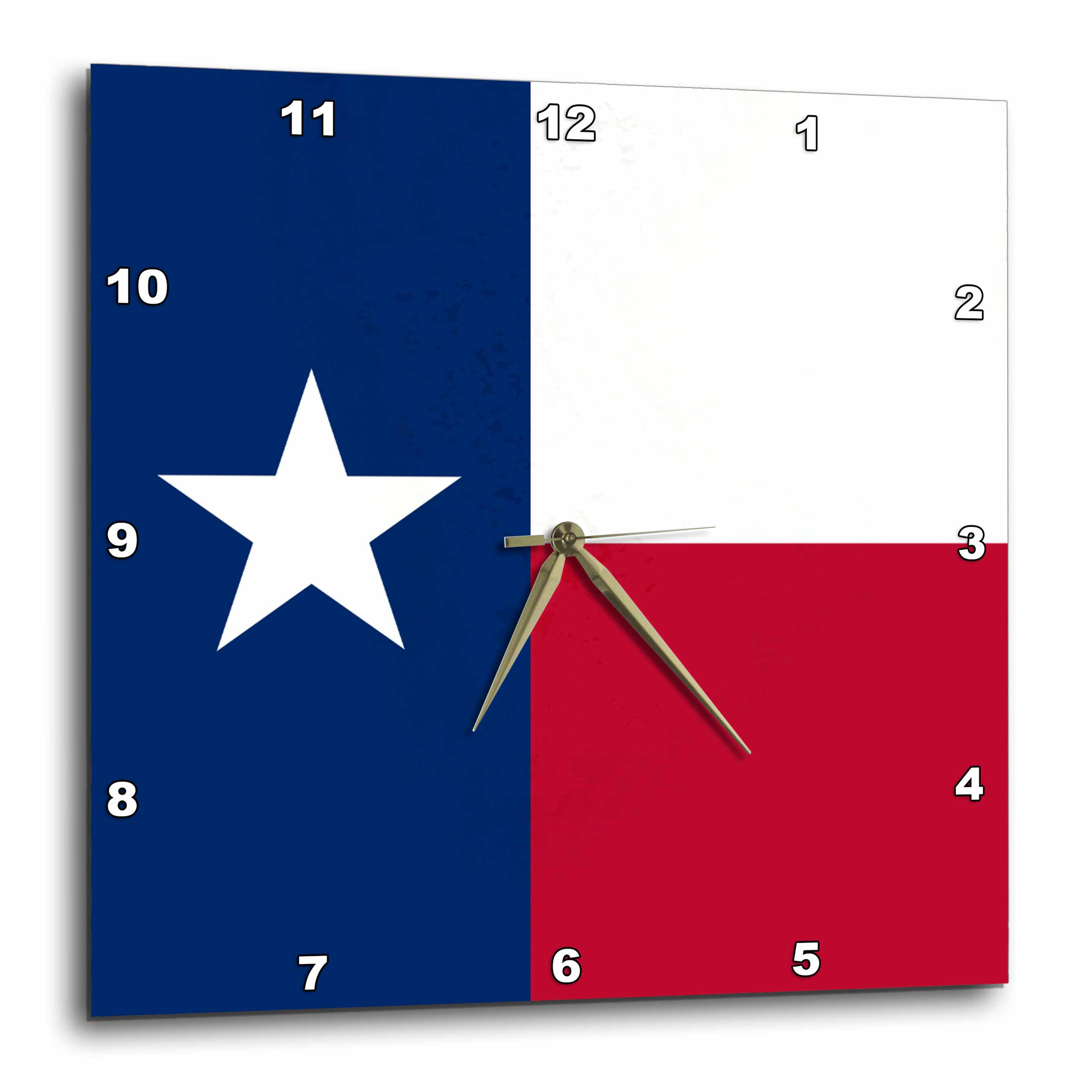 3dRose Flag of Texas TX - US American United State of America USA - blue red white - The Lone Star Flag, Wall Clock, 10 by 10-inch