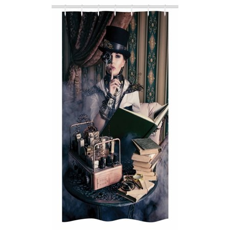Gothic Stall Shower Curtain, Portrait of Steampunk Woman with Medieval Vintage Outfit Historic Fashion Art Photo, Fabric Bathroom Set with Hooks, 36W X 72L Inches Long, Brown Teal, by Ambesonne - Medieval Times Outfits