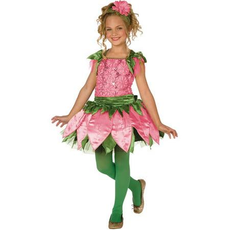 Living Fiction Adorable Rose Flower 2pc Girl Costume, Pink Green